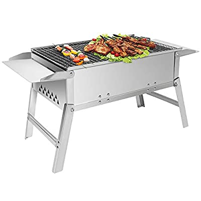 Sunjas BBQ Grill, Holzkohlegrill Portable, Picknickgrill Outdoor, tragbarer Klappgrill, Tischgrill Edelstahl, Holzkohle Grill für BBQ Party Garten Camping Picknick, 45x6.5cm