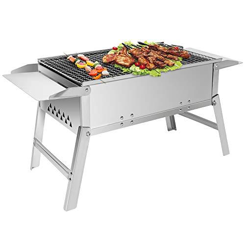 Sunjas Edelstahl Holzkohlegrill, Klappgrill Outdoor BBQ Grills, Portable Campinggrill - DREI Größen (55 x 26 x 32 cm)
