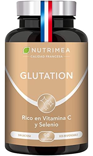 Glutatión Potente Antioxidante con Vitamina C, Reducido al 98% + Glicina Cisteína Ácido Glutámico, Regenerador Celular Hombres y Mujeres, Skin Whitening, Fabricado en Francia, 90 Cápsulas de Origen Vegetal