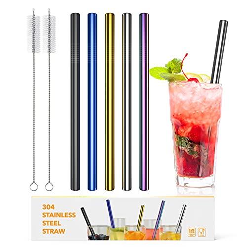 DORART 5pcs Pajitas Gruesa de Acero Inoxidable, Pajitas Reutilizables con 2 Cepillos de Limpieza y Bolsita, Ideal para Cóctel, Café, Zumos(Cinco Colores, Gran Diametro de 12 mm)