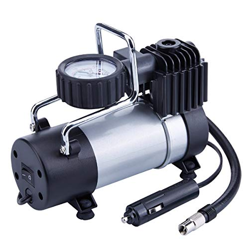 QCHEA Inflador de neumáticos de 12V - Bomba de Metal de accionamiento Directo 100PSI, compresor de Aire portátil con Abrazadera de batería