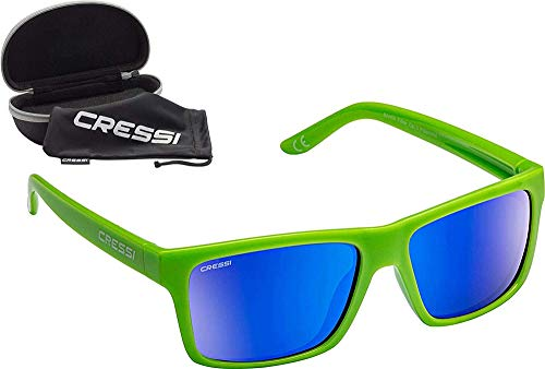 Cressi Bahia Flotantes Sunglasses Gafas De Sol Deportivo, Unisex adulto, Kiwi/Azul Lentes espejados