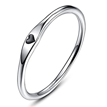 AVECON 925 Sterling Silver Heart Shape Design Romantic Date Band Ring for Women Size 9.5