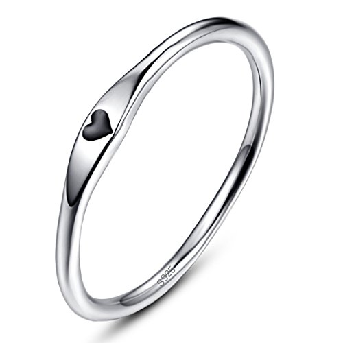 AVECON Women's Solid 925 Sterling Silve Simple Design Fashion Heart Shape Christmas Ring Size 8.5