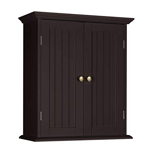 ChooChoo Bathroom Wall Cabinet Over The Toilet Space Saver Storage Cabinet Medicine Cabinet with 2 Door and Adjustable Shelves Cupboard