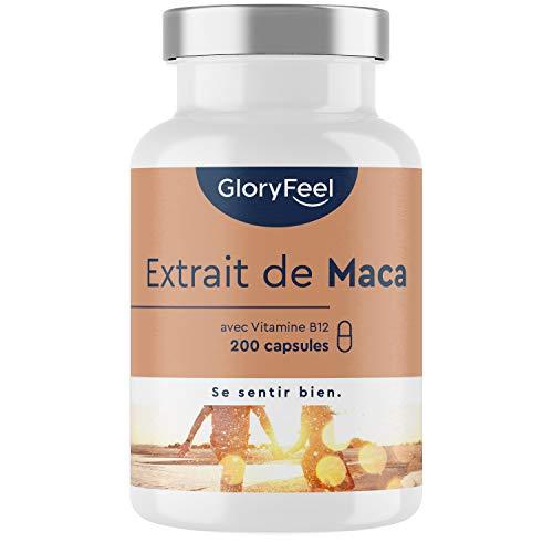 Extrait de Maca Péruvienne avec Vitamine B12-200 Gélules Végétales - Extrait Pur de Racine de Maca du Pérou - 2500mg à Dosage Élevé - Maca Root très Puissant - Testé Cliniquement