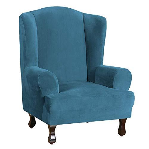 Samt Ohrensessel Schonbezug, Ohrensessel Ultra Soft Plüsch Sofabezüge 1-teilige Möbelbezug/Ohrensesselbezug, Maschinenwaschbar-Pfauenblau
