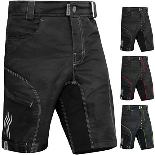 Brisk Bike MTB Shorts Including Padded Inner Shorts (Black/Grey, X-Large)