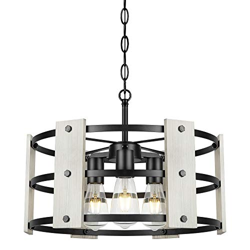 Derksic 3-Light Farmhouse Chandelier Rustic Drum Chandelier in Wood and Metal Round Shade for Living Room Dining Room Kitchen Island Foyers White
