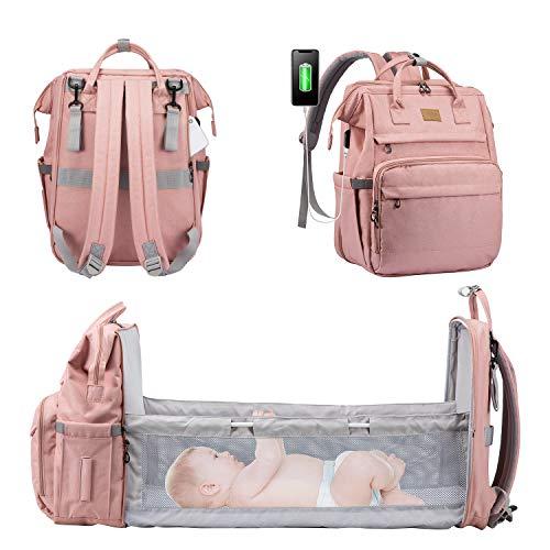 LOVEVOOK Wickelrucksack Rucksack Wickeltasche Groß Baby Tasche für Mama Mommy Bag Diaper Bag Babytaschen mit bett Multifunktional Wickeltaschen Große Babyrucksack Wasserdicht, Rosa
