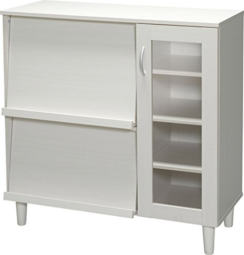 アイリスオーヤマ食器棚コレクションラック収納ガラスキャビネット可動棚フラップ扉スライド棚幅90cm木目調オフホワイトKBN-9390