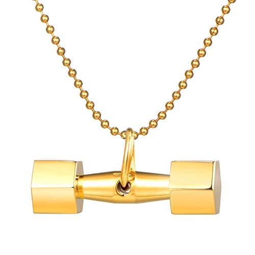 DonDon Collar de Hombre con Colgante en Forma de Pesas Acero Inoxidable Dorado en Bolsa de Joyas