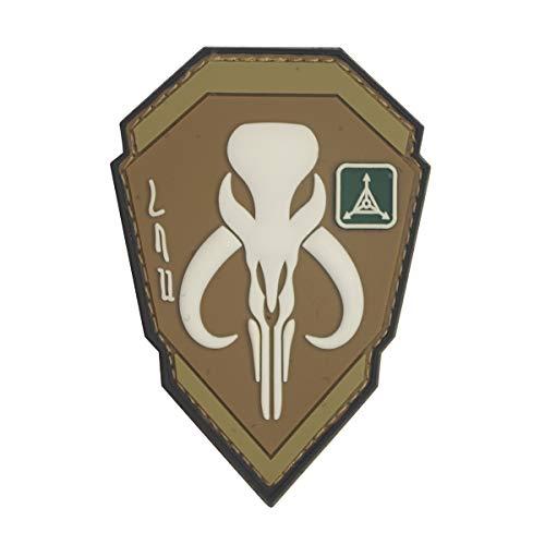 Cobra Tactical Solutions Boba Fett Mandalorian Bantha cráneo Dark Earth Star Wars Parche PVC Táctico Moral Militar con Cinta adherente de Airsoft Paintball para Ropa de Mochila Táctica