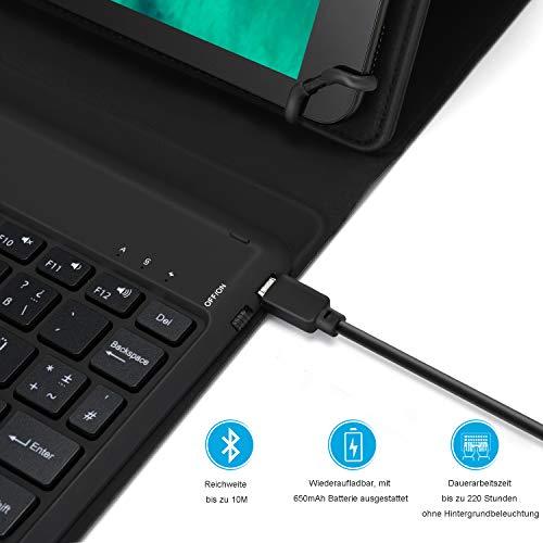 Jelly Comb Beleuchtete Tastatur Hülle für Allen 9-11 Zoll Tablet, Bluetooth Wiederaufladbare Funktastatur mit Schützhülle für Android/Windows Tablets, iPad, QWERTZ Deutsches Layout, Schwarz