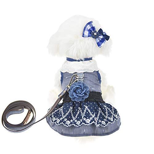 FLAdorepet 3Pcs Dog Pet Cat Dress Harness and Leash Set Small Dog Clothes Shirt Costume Dog Skirt,Dress,Hair Bow (M, Blue)