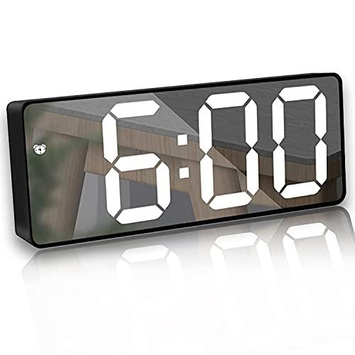 Sveglia Digitale a Specchio,Sveglia Digitale LED,Sveglia Elettronica con Temperature Luminosità Regolabile Funzione di Snooze Schermata di attivazione vocale per Camera da Letto Ufficio