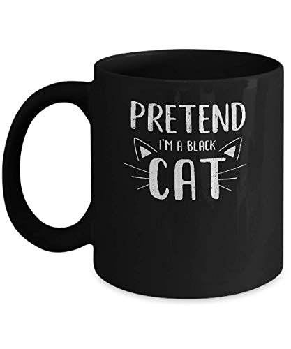 N\A Pretender Que Soy un Disfraz de Gato Negro Halloween Lazy Easy Taza de caf