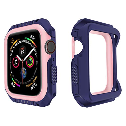JWWLLT Funda Protectora de Flyuzi para iWatch Series 6 SE 5 4 3 2 1 Tapa de Silicona PC Bumper para Apple Watch 44mm 40mm 42mm 38mm Nuevos Accesorios (Color : Blue Pink, Dial Diameter : 42mm)