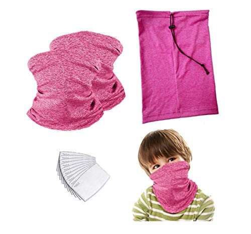 Adjustable Kids Neck Gaiter Face mask with Drawstring Children Bandana mask with Filter Balaclava for Boys Girls (Pink 2 Pack Child)