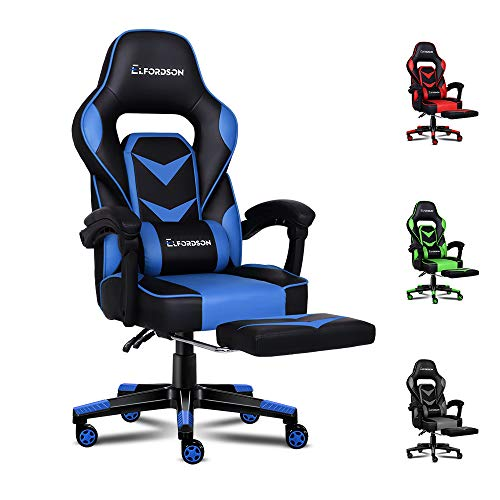 ELFORDSON Gaming Chair Ergonomic Computer Office Chair with Footrest for Adults Kids Home Racing Sport Game PU Leather Armrest Headrest (Blue Colour)
