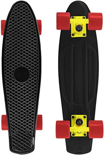 Skateboard 55cm/22inch para Principiantes Adultos y Niños, Mini Cruiser Retro Skateboard con All-in-One Skate 4 PU Ruedas (Negro)
