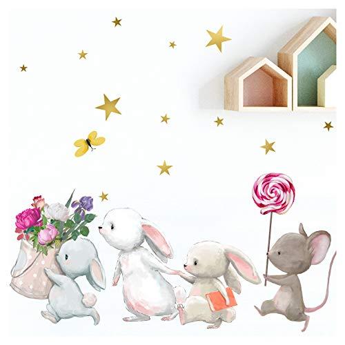Little Deco Wandtattoo Babyzimmer Hasenfamilie und Maus I Wandbild 121 x 84 cm (BxH) I Lolli Sterne Kinderbilder Wanddeko für Kinderzimmer Mädchen Aufkleber DL227-4