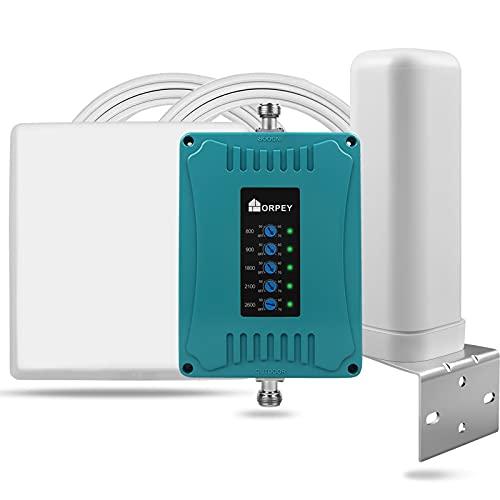 ORPEY 5-Bande Handy Signalverstärker für Heimbüro Wohnmobile Verwenden Sie LTE 4G 3G 2G GSM Repeater 800/900/1800/2100/2600 MHz (Band 20/8/3/1/7) Mobilfunkverstärker Für E-Plus O2 T-Mobile Vodafone