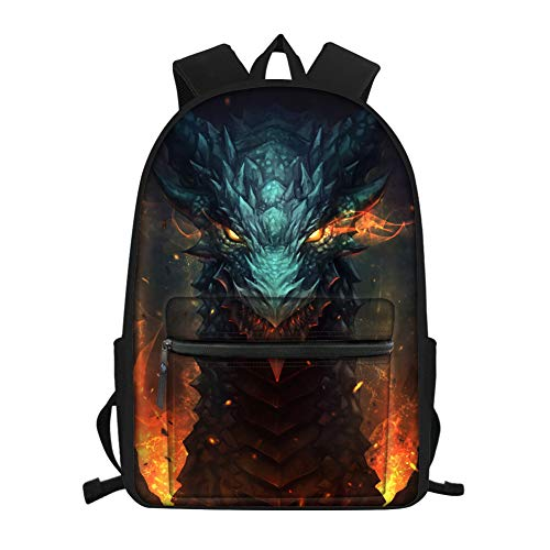 Amzbeauty Cool Dragon Dinosaur School Backpack Book Pack Travel Laptop Backpack Teens Boys Girls Kids Unisex 15.6 Inch