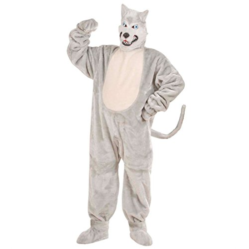 Amakando Costume Complet Loup déguisement intégral en Velours Husky en péluche carnassier Animal Contes de fées Carnaval Habit Mascotte