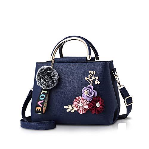 NICOLE & DORIS Damen Leder Handtasche Umhängetaschen mit Blume Jahrgang Griff Tasche Designer Tote Geldbörse mit Pom Pom Dunkelblau