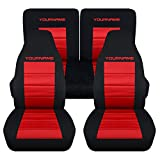 Totally Covers Compatible with 1983-1993 Ford Mustang 2-Tone Seat Covers w Your Name/Text: Black & Red - Full Set Coupe/Hatchback/Convertible Solid/Split Bench 3rd Gen