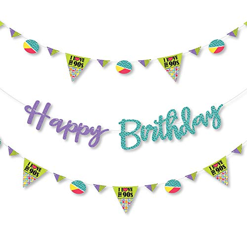 Big Dot of Happiness 90's Throwback - 1990's Birthday Party Letter Banner Decoration - 36 Banner Cutouts and Happy Birthday Banner Letters