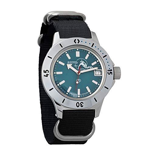 Vostok Amphibian Scuba Dude Automatic Mens Wristwatch Self-Winding Military Diver Amphibia Ministry Case Wrist Watch #120059/120378 (120059 Black)