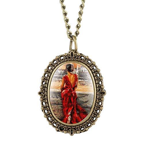 Zarte Bronze-Ton Frauen Taschenuhr Schöne Frauen Rückseite Figur Muster Quarz Taschenuhren für Damen Elegante ovale Taschenuhr für Teenager