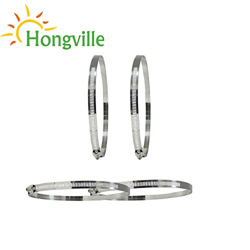 Hongville 2 PCS Adjustable Stainless Steel Worm Gear Hose Clamps (14 Inch)
