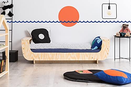 Mami | Cama para niños | Cuna Montessori Barchetta | Colchón Smart (no incluido) Altura niño | Color madera natural | Grabado personalizado con el nombre