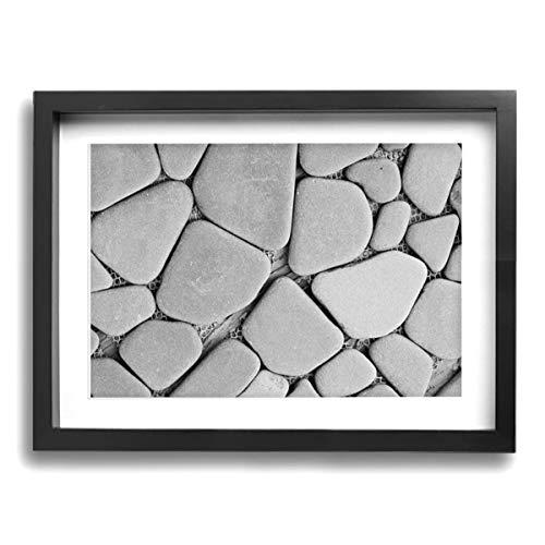 Olverz - Papel pintado con marco de madera, diseño abstracto de piedra para pared o hogar o oficina, tamaño enmarcado 30,5 x 40,6 cm