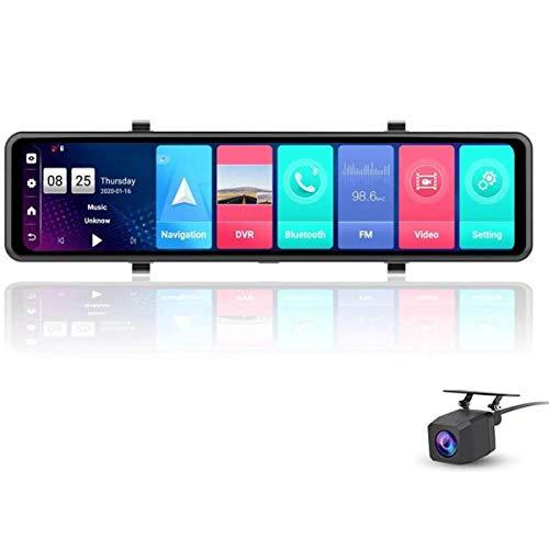XBRMMM 2020 Neueste 12 Zoll Vollbild 4G Touch IPS Auto Dashcam Rückansicht Android 8.1Spiegel RAM 2GB ROM 32GB Mit WiFi GPS Navigation Bluetooth Musik Dual Lens FHD 1080P,Driving Recorder