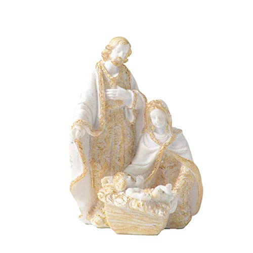 JYKFJ Statua di Gesù Figurina Sacra Famiglia Maria Giuseppe con Gesù Bambino Presepe Scultura Ornamenti Cattolici Regalo Forniture per la Chiesa Decor Biblegifts Decorazione per la casa