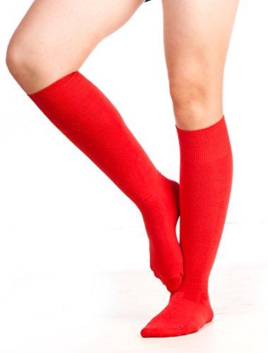 Chapini®, kniehohe Socken für Damen & Mädchen, aus weicher Baumwolle, einfarbig, Größe: 37 - 42 Gr. Einheitsgröße, rot