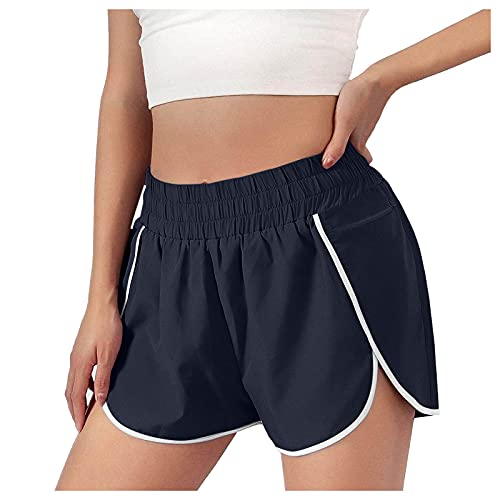 HCNTES Womens Shorts for Summer,Plus Size Shorts for Womens Drawstring Elastic Waist Casual Comfy Cotton Linen Beach Shorts