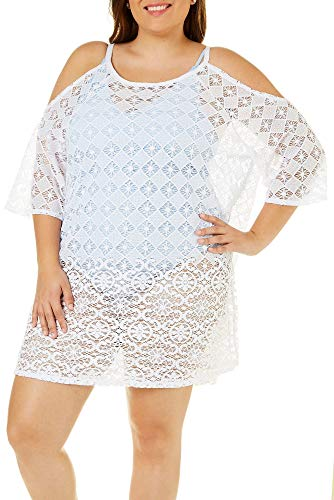 Dotti Plus Size Cold Shoulder Lace Swimsuit Cover Up 1X White