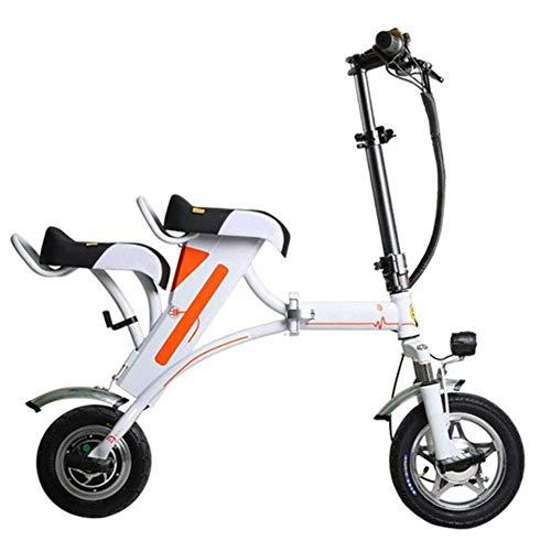 LLLKKK Mini-Adulto Bicicleta Plegable eléctrica, Scooter eléctrico portátil portátil Bicicleta eléctrica de Bici Remoto USB de Control antirrobo Asientos Cargador Dos,Blanco