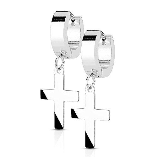 Bungsa - Pendientes de anillo con cruz colgante, de plata y acero inoxidable, para mujer plateado