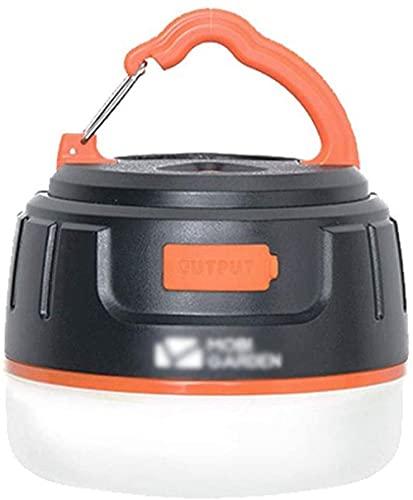 Linterna eléctrica LED portátil para tienda de campaña, 5200 mAh, Power Bank lámpara para senderismo, camping, pesca, equipo de camping, color negro