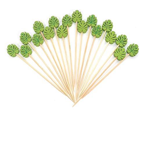 FLZONE Palitos de Cóctel,100 Palillos de Cóctel Brochetas de Bambú Palillo de Frutas para Cócteles Aperitivos Frutas Postres Artículos de Fiesta Brocheta de Frutas-Hojas de Palma