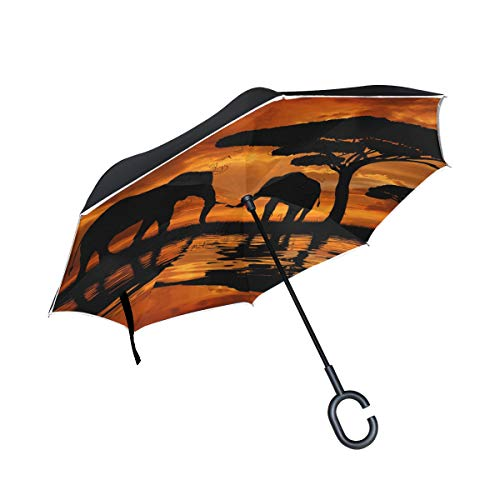 für Auto-Reverse-Regenschirm mit C-förmigem Griff Außenschirm Elefanten Sonnenuntergang Baum Winddicht Sonnenschirm Marienkäfer