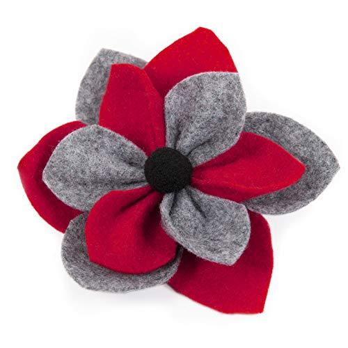 OiA |Broche de Flores Hecho a Mano, para Llevar con un Abrigo, suéter, Gorro, Bufanda o Bolso, para Mujeres. (Red + Grey)