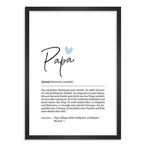 Himmelsflüsterer - Definition Poster & Kunstdrucke   Papa Geschenk   Wandbilder   Geschenke für Papa Geburtstag   Wanddeko Deko Wohnzimmer   Bilder mit Rahmen   DINA A4 mit Rahmen
