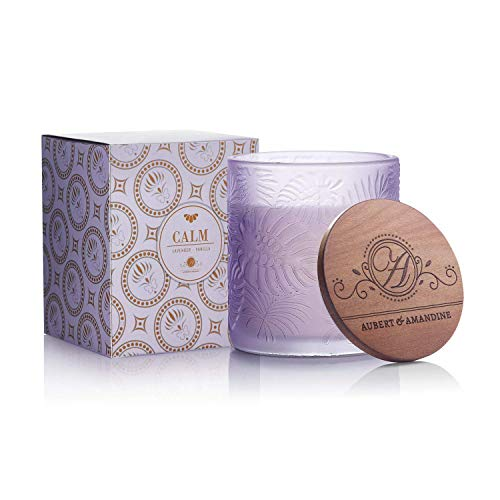 Calm - Lavender Vanilla Luxury Scented Soy Candle for Stress Relief & Relaxation High Intensity Aromatherapy Pastel Collection (Calm - Violet - Lavender Vanilla)